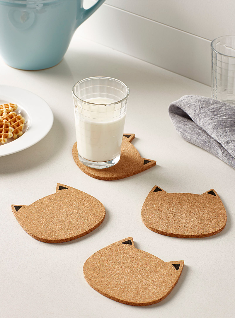Simons Maison Sand Cute kittens cork coasters  Set of 4