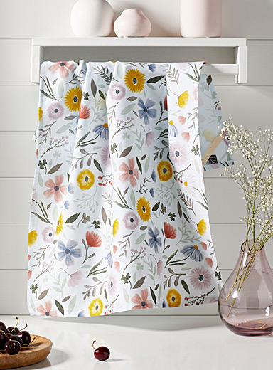 Soft floral tea towel