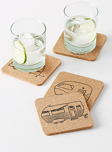 Caravan trip cork coasters  Set of 4