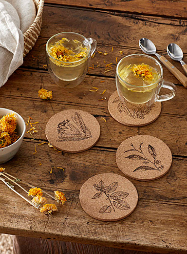 Botanical sketch cork coasters Set of 4