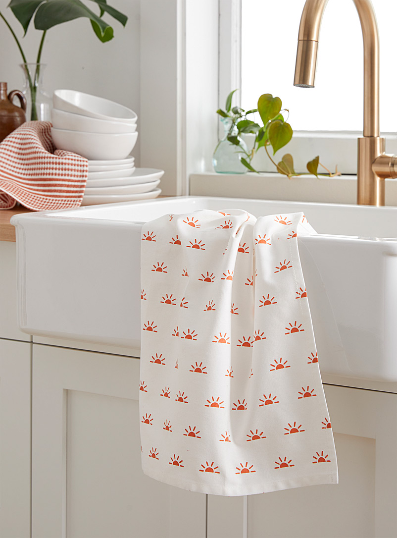 Simons Maison Patterned Orange Sunny horizon tea towel
