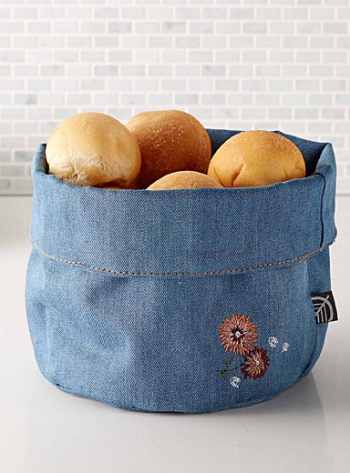 Embroidered flower denim bread basket