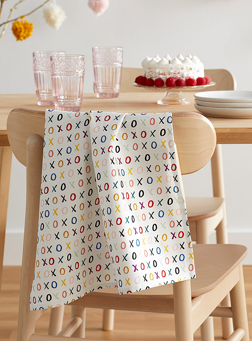 Simons Maison Patterned White Sweet kisses tea towel