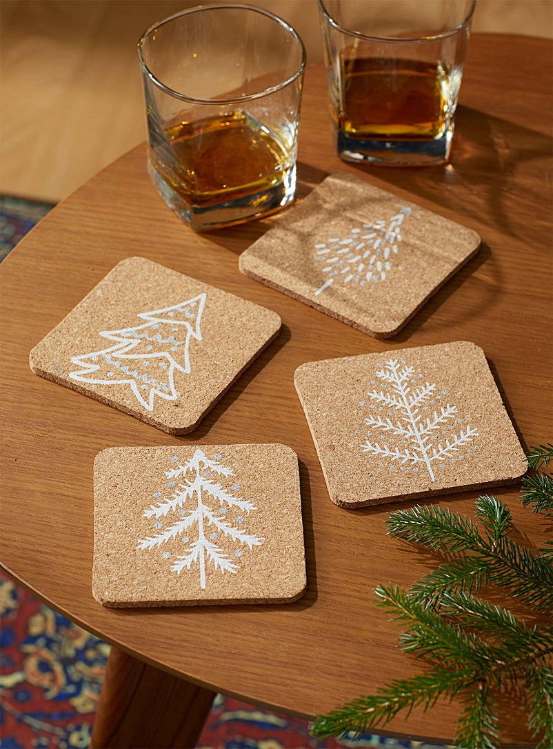 Oh Christmas Tree Cork Coasters Set Of 4 Simons Maison Trivets Coasters Table Accessories Simons