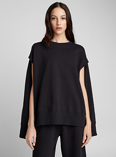 Open-sleeve sweatshirt