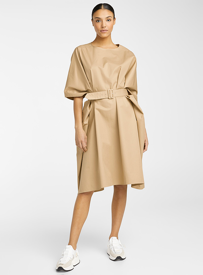 MM6 Maison Margiela Ecru/Linen Oversized dress for women