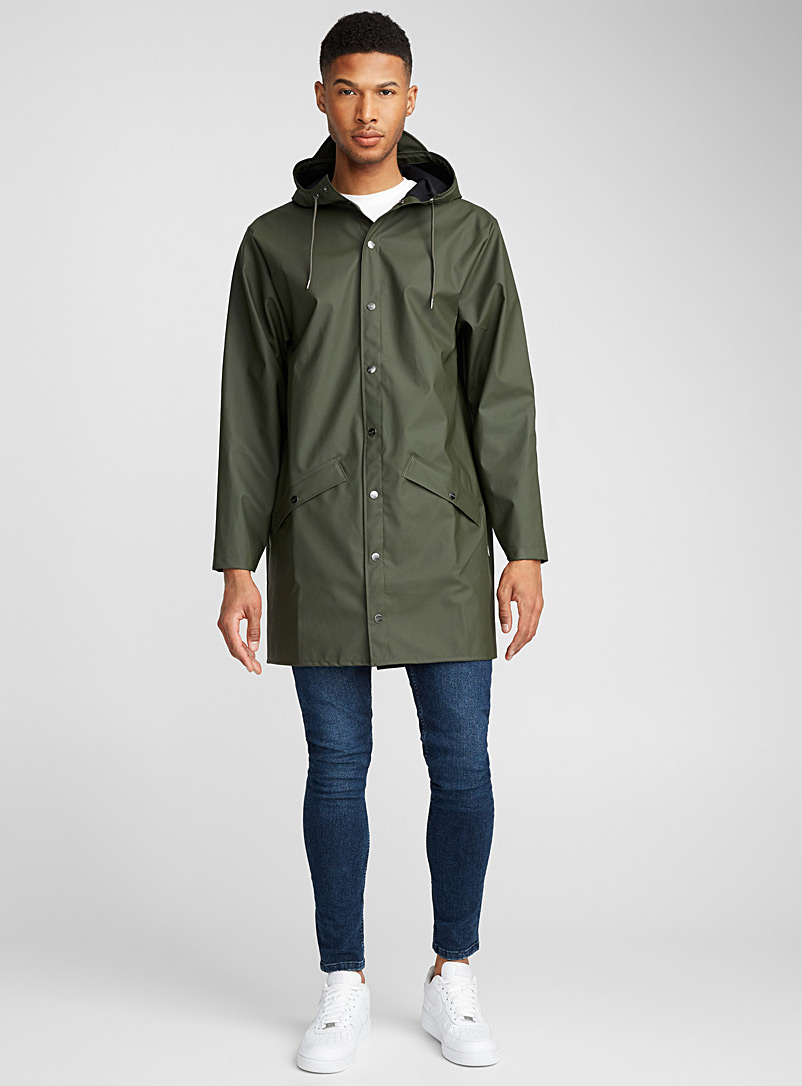 Rains Khaki Long minimalist trench coat for men