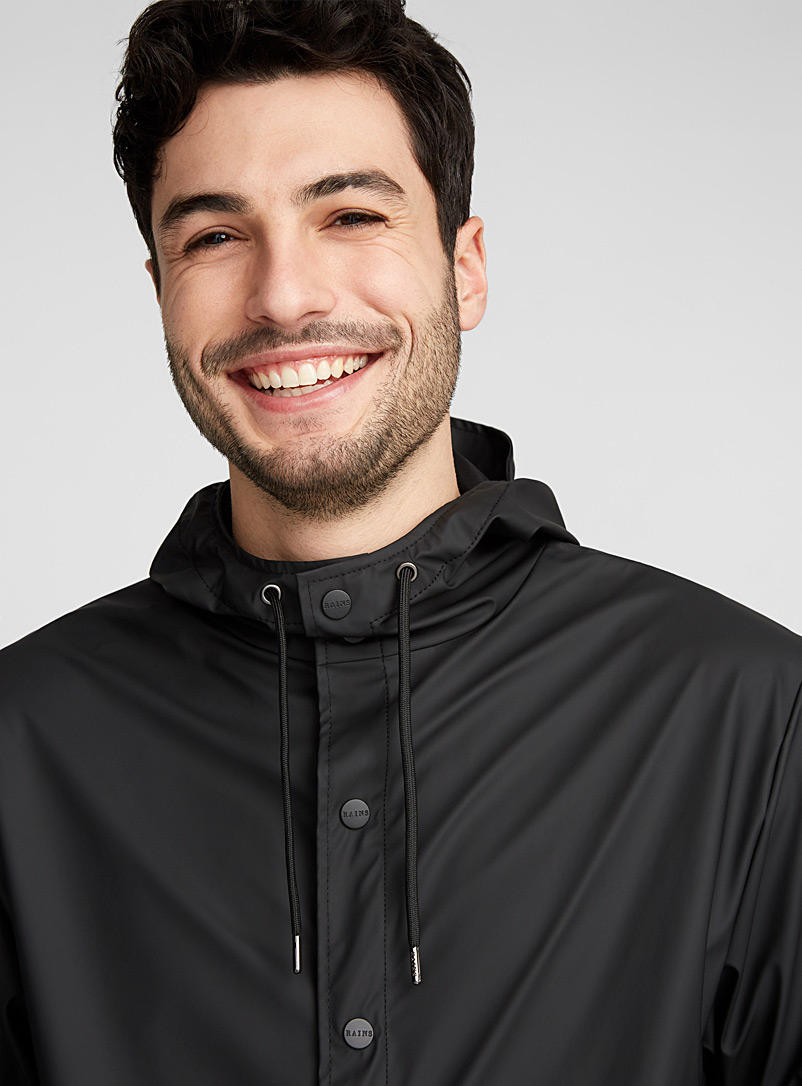 Rains Black Minimalist short raincoat for men