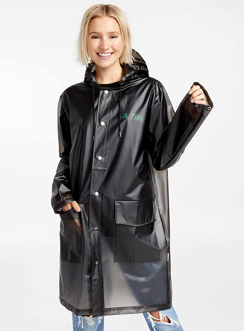 Rains Patterned Black Transparent raincoat for women