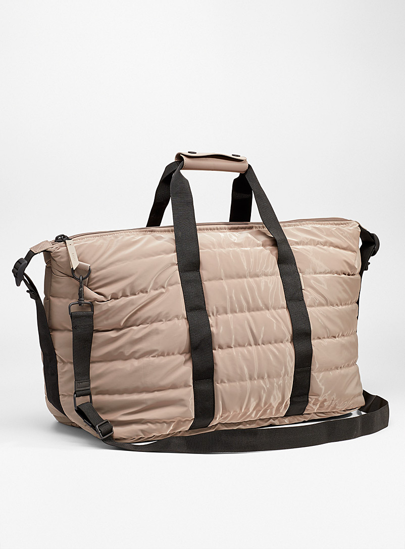 Rains Light Brown Polished quilted weekend bag for women