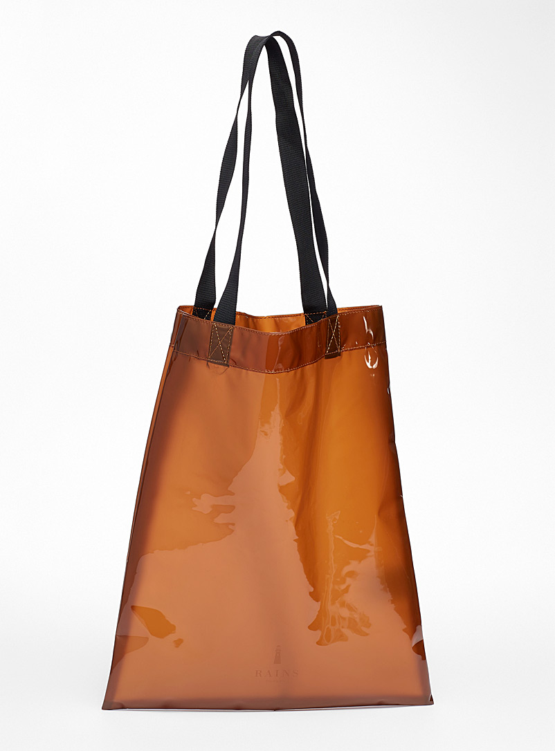 Rains Orange Translucent waterproof tote for women