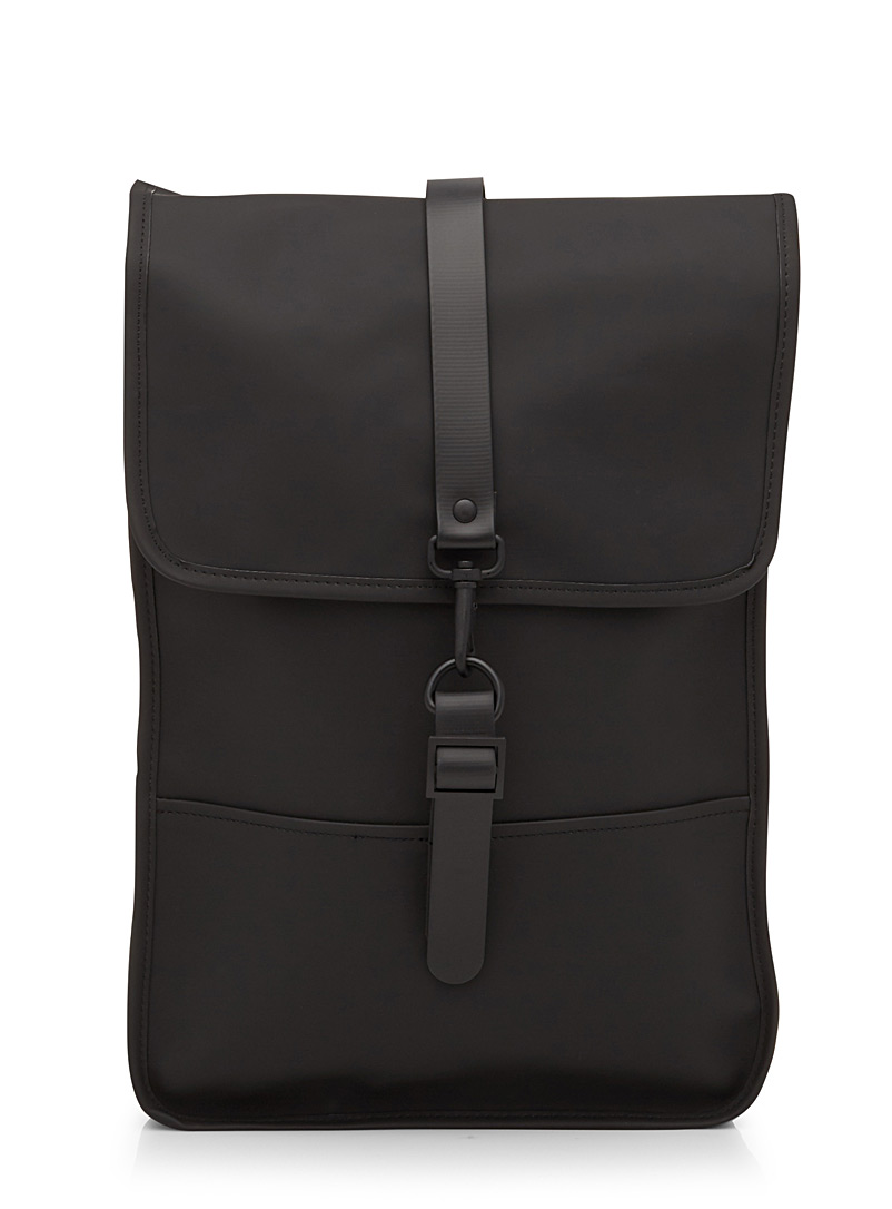Rains Black Minimalist backpack for women