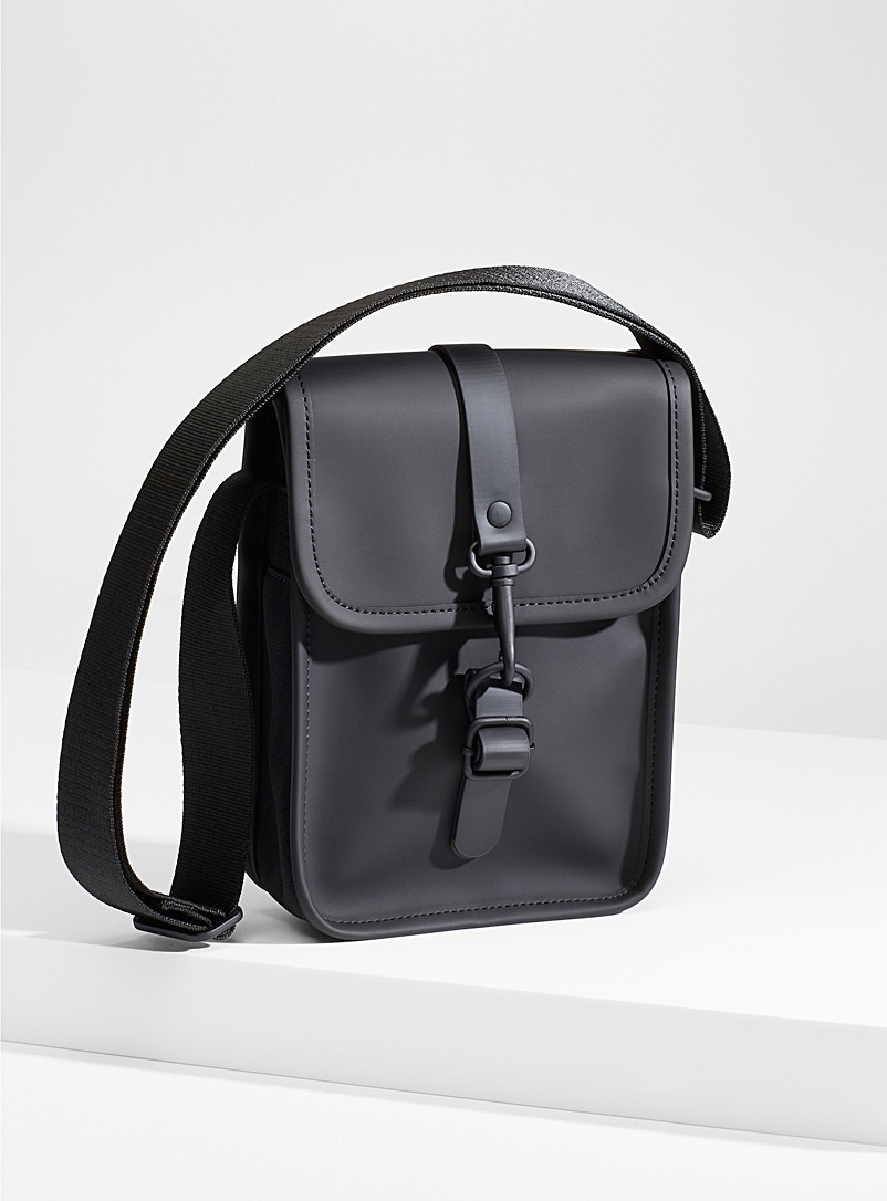 Rains Black Matte finish shoulder bag for men