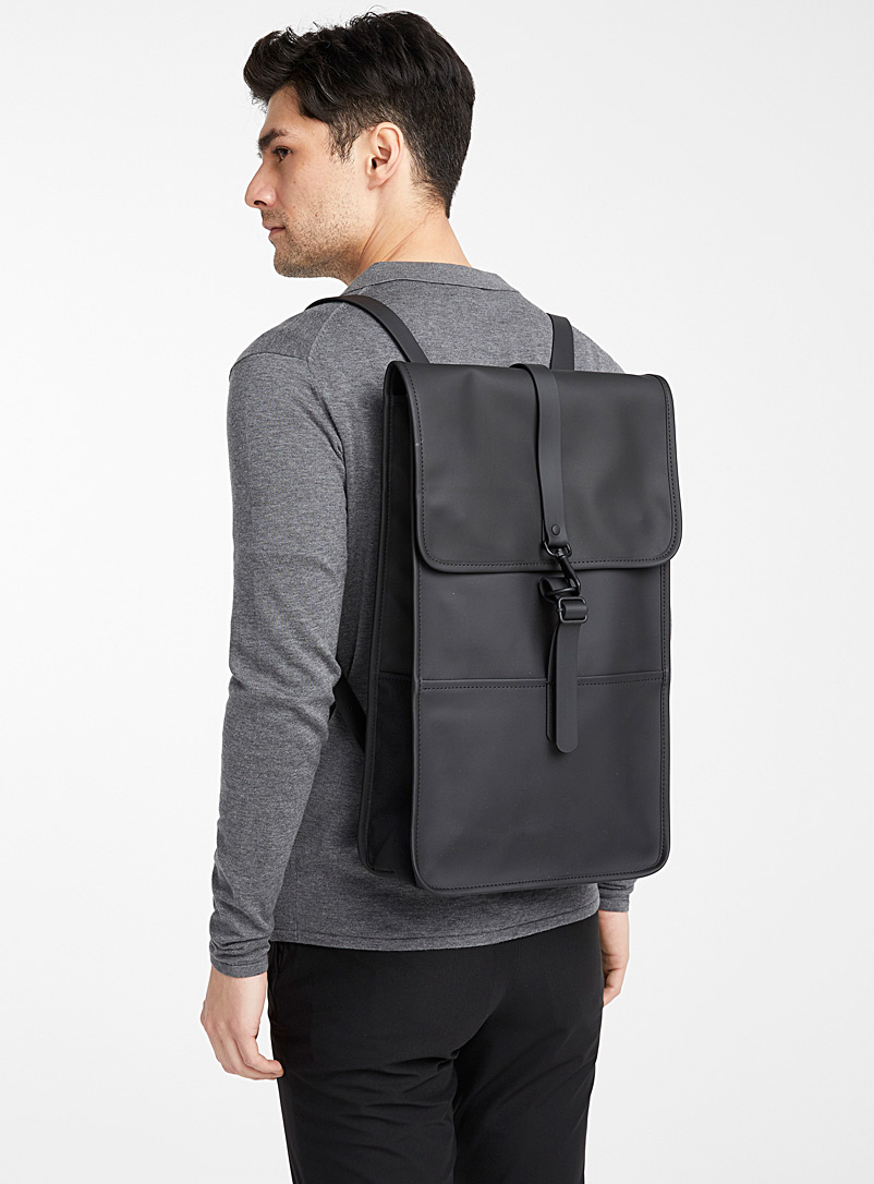 Rains Black Matte faux-leather minimalist backpack for men