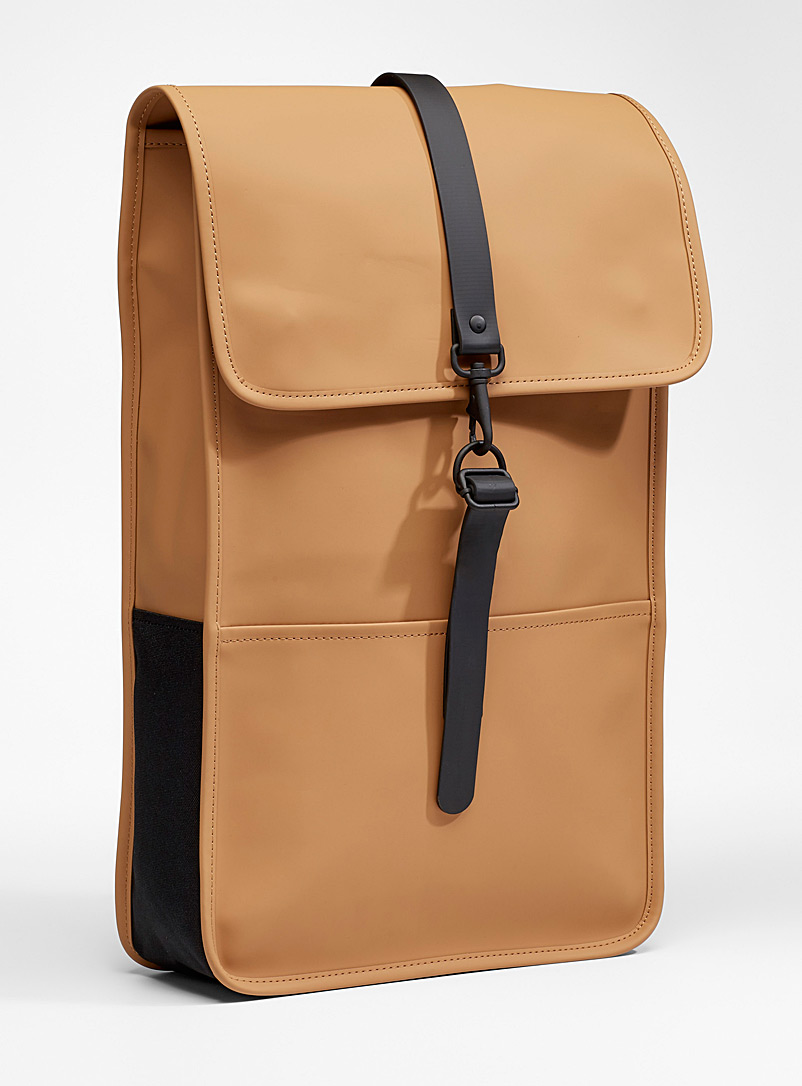 Rains Light Brown Matte waterproof backpack for men