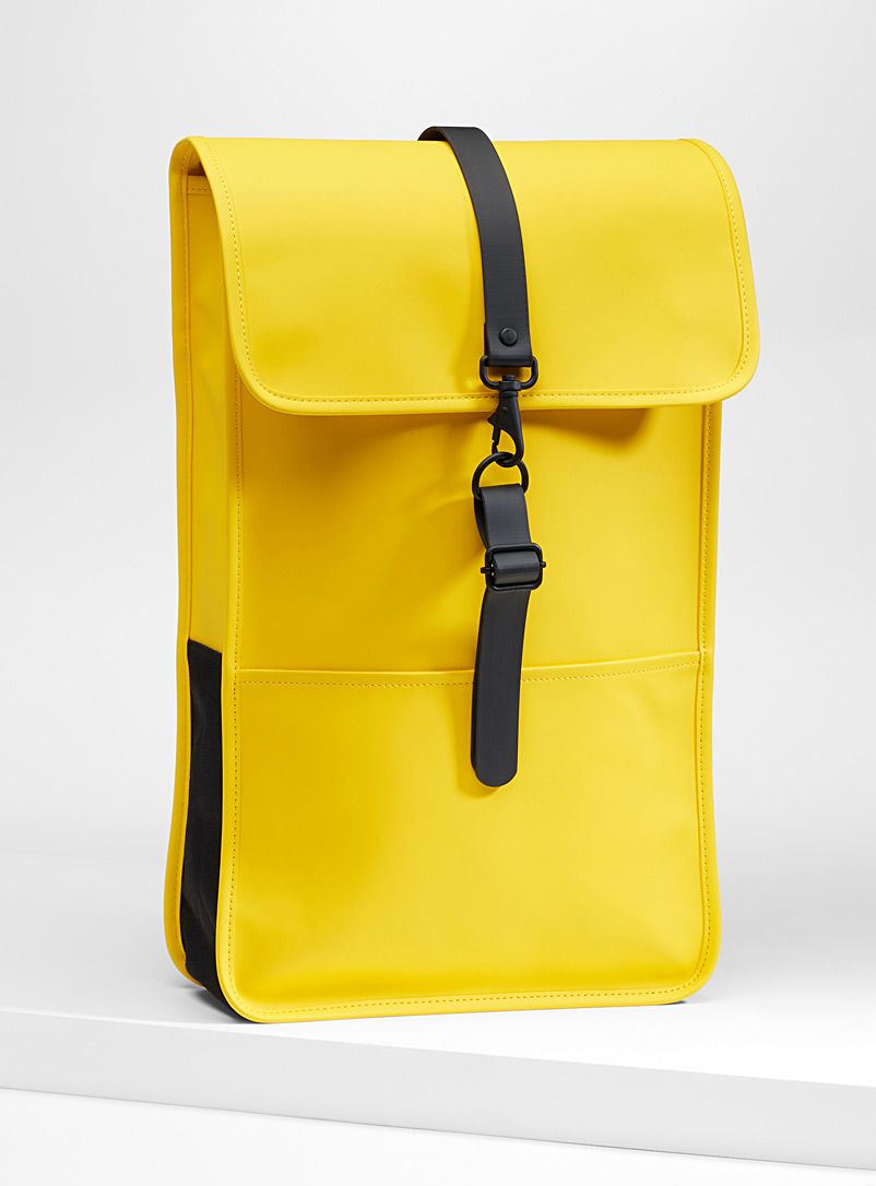 Matte faux-leather minimalist backpack - Backpacks - Golden Yellow