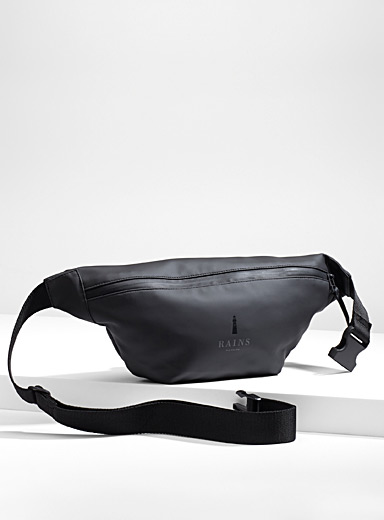 Rains Black Minimalist belt bag for men