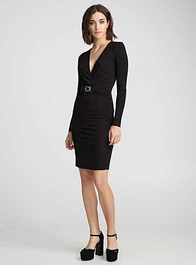 Snake-buckle black dress