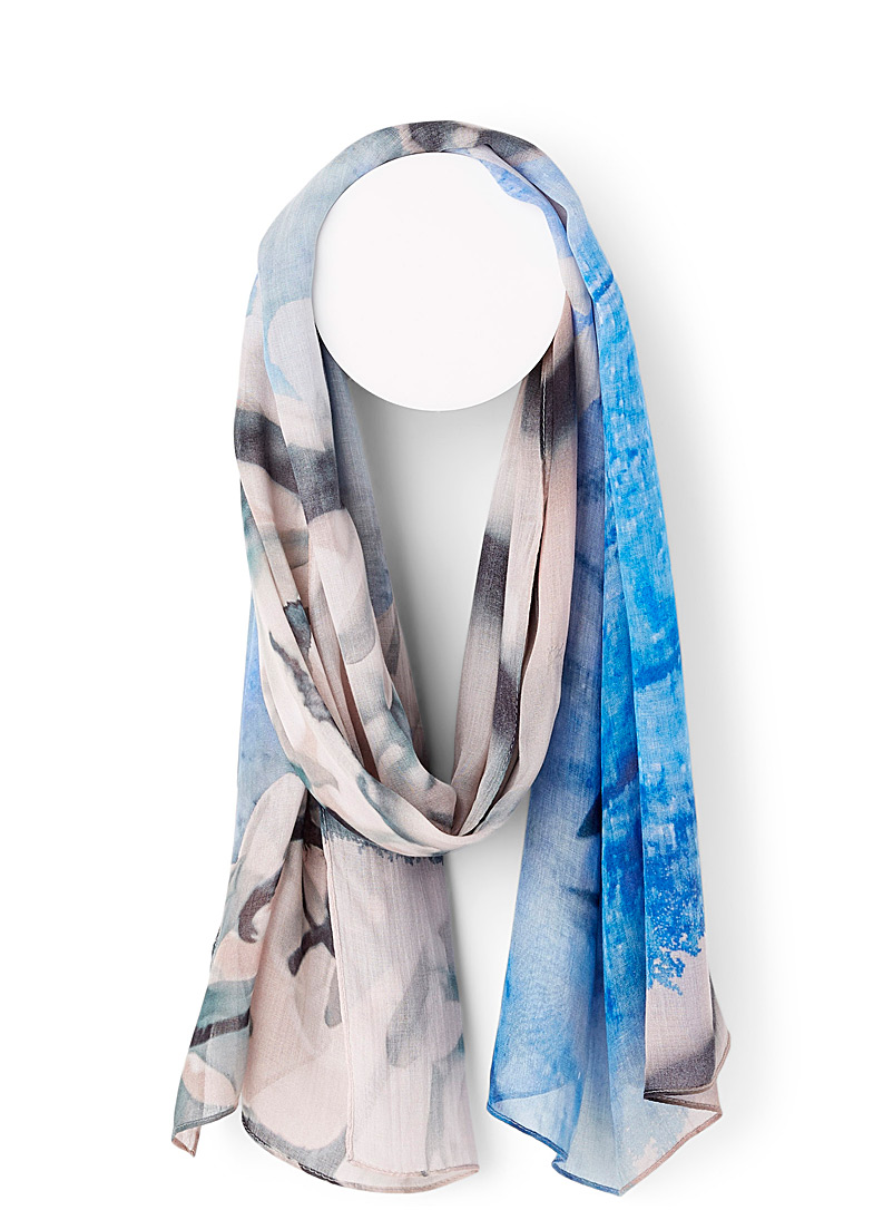 The Artists Label Patterned Blue Plava scarf for women