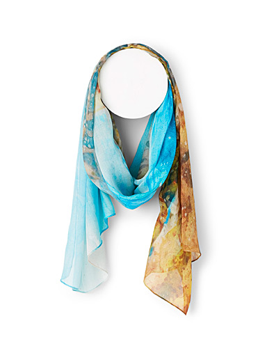 The Artists Label Patterned Blue Stripe palette scarf for women