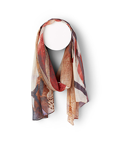 The Artists Label Patterned Brown Ornette scarf for women