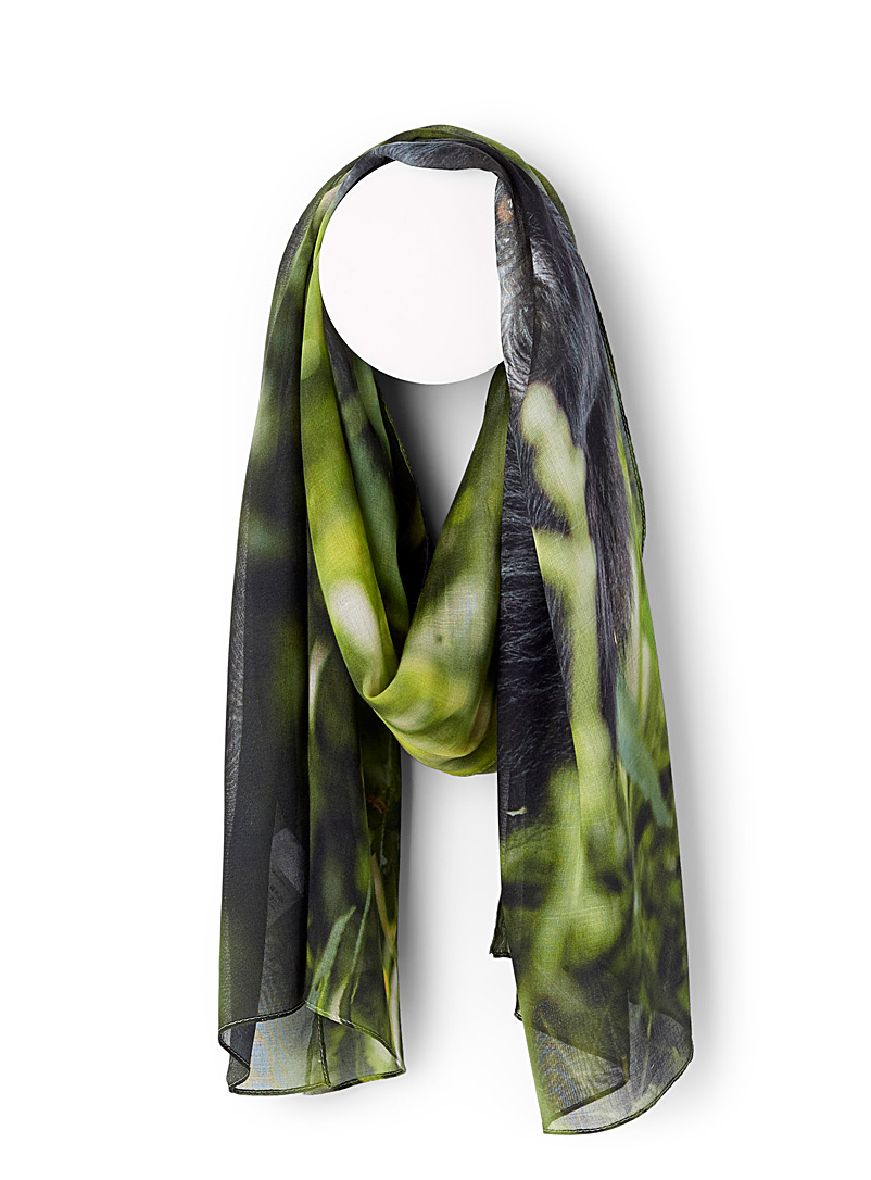 The Artists Label Patterned Green Mountain shadows scarf for women