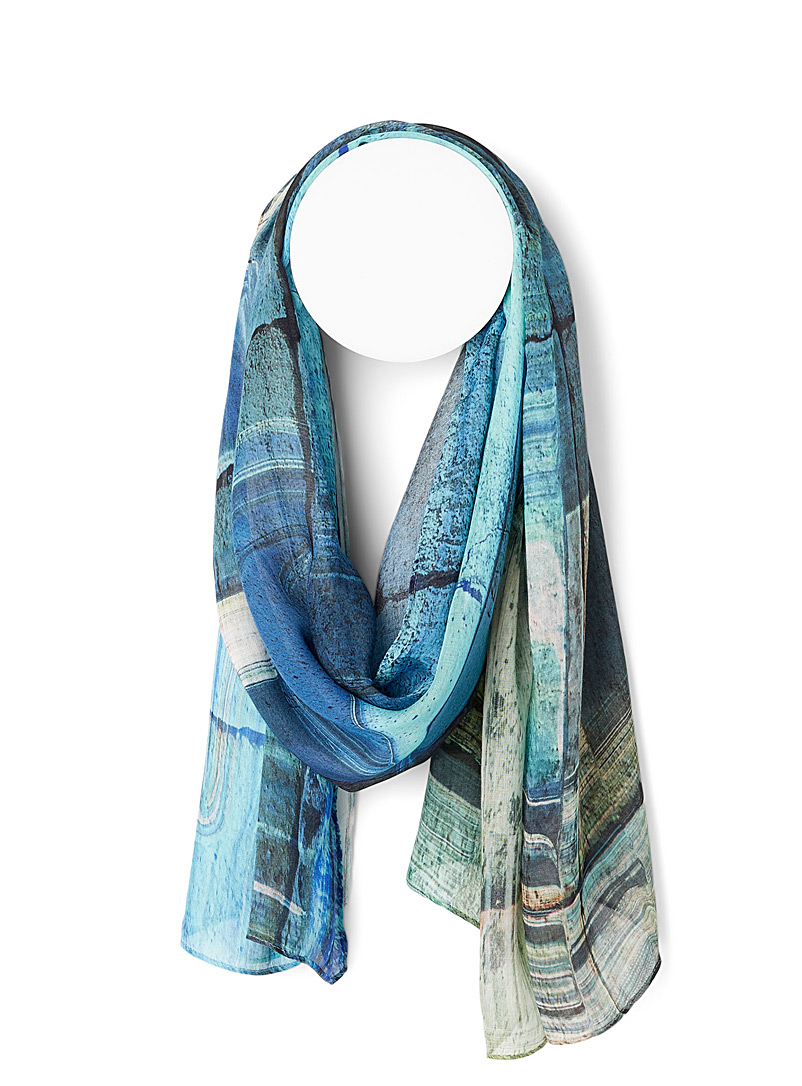 The Artists Label Patterned Blue Ancient Greece scarf for women