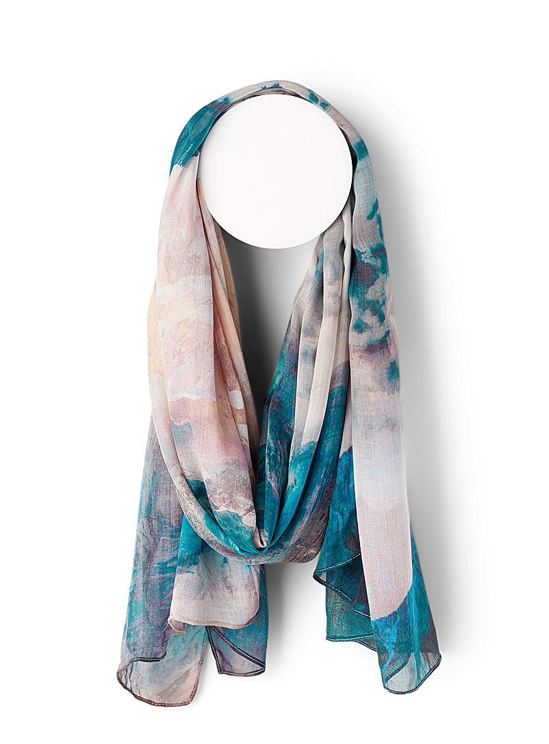 The Artists Label Patterned Blue Utopia scarf for women