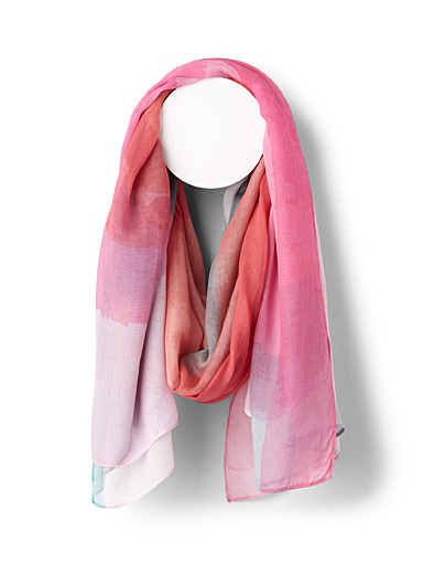 Pink painterly scarf