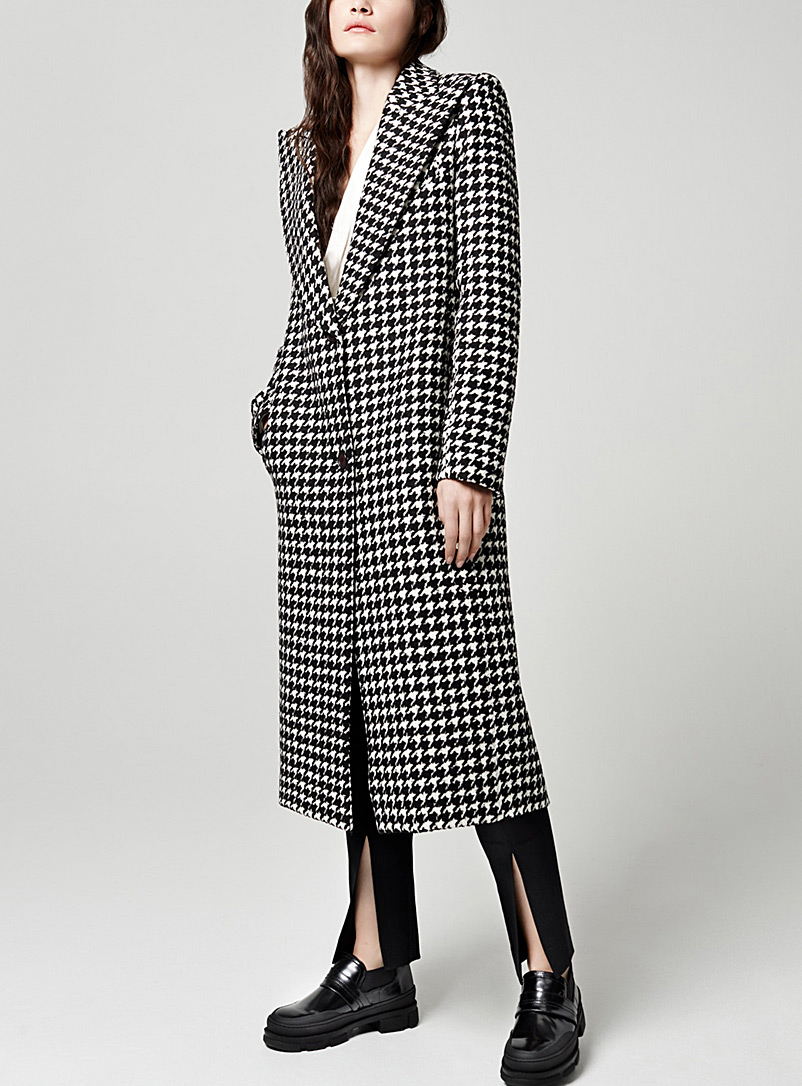 Smythe Black and White Houndstooth coat for women