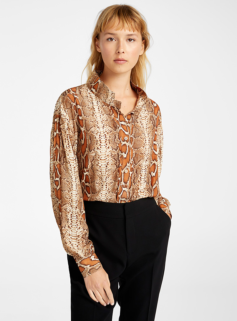 Smythe Patterned Ecru Poet snake print blouse for women