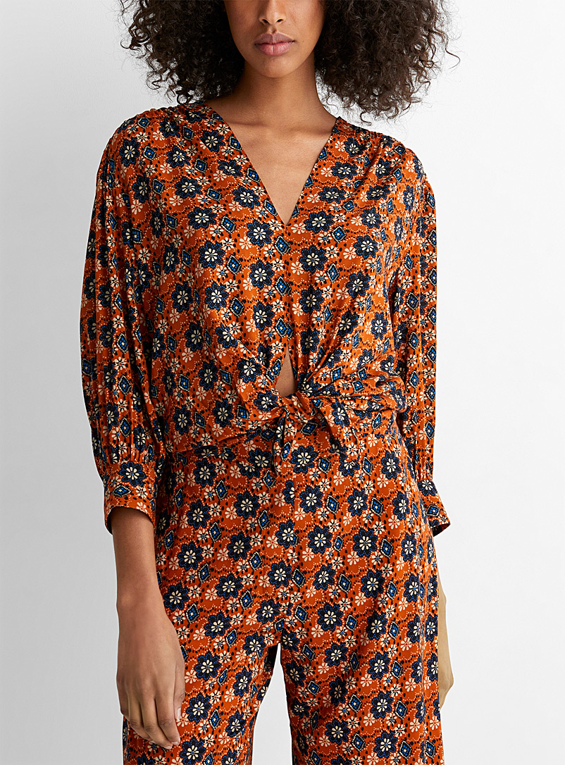 Smythe Patterned Orange Batik floral tie front blouse for women