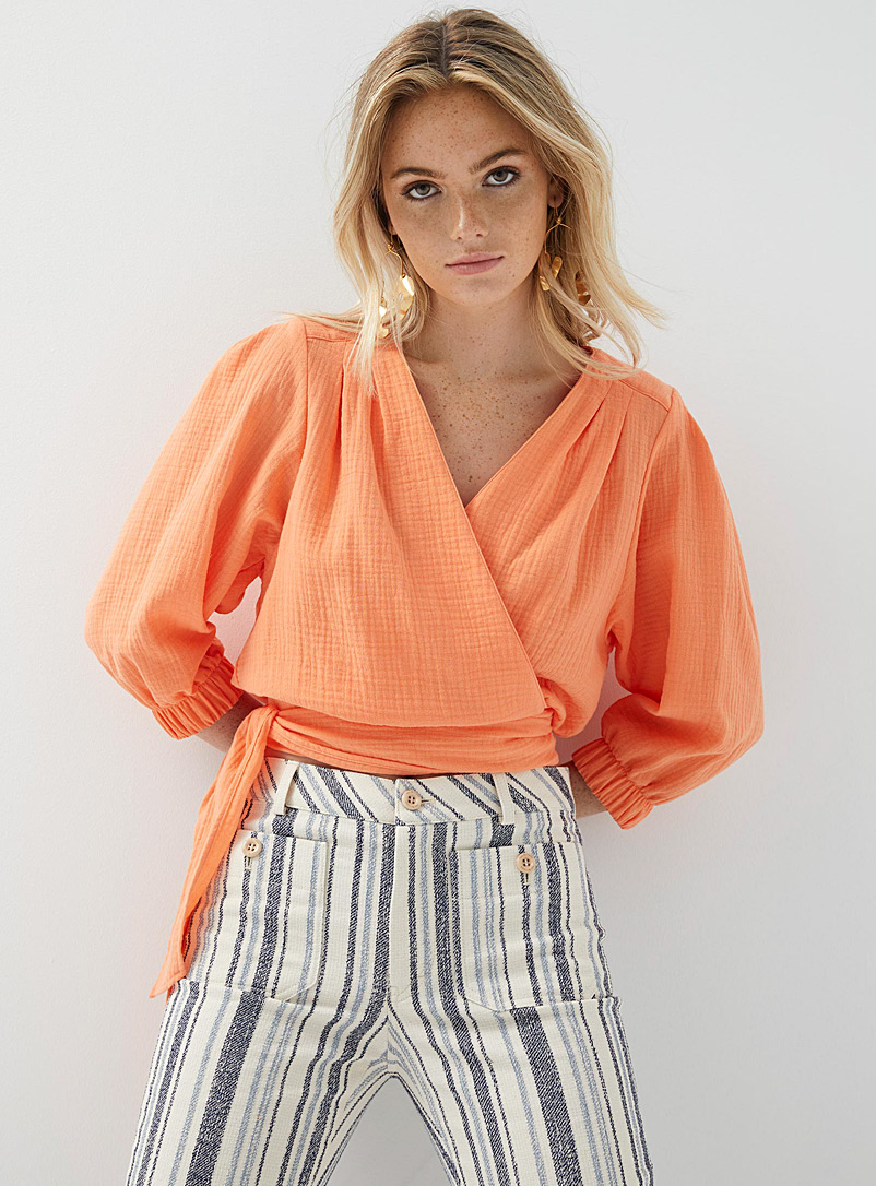 Smythe Tangerine Tie-waist crossover blouse for women