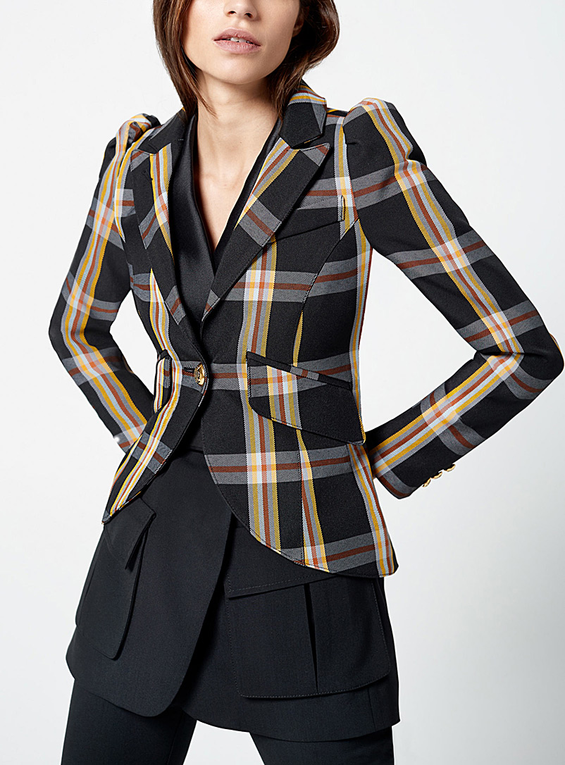 Smythe Patterned Black Puff-sleeve plaid blazer for women
