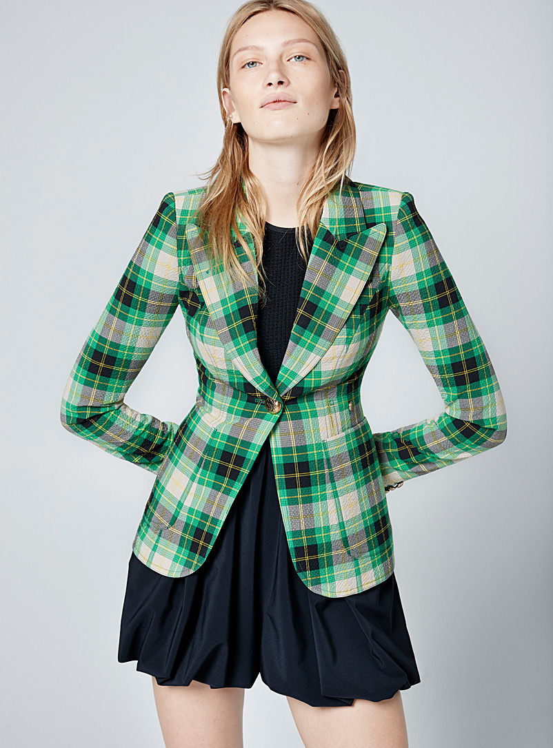 Smythe Patterned Green Checked seersucker jacket for women