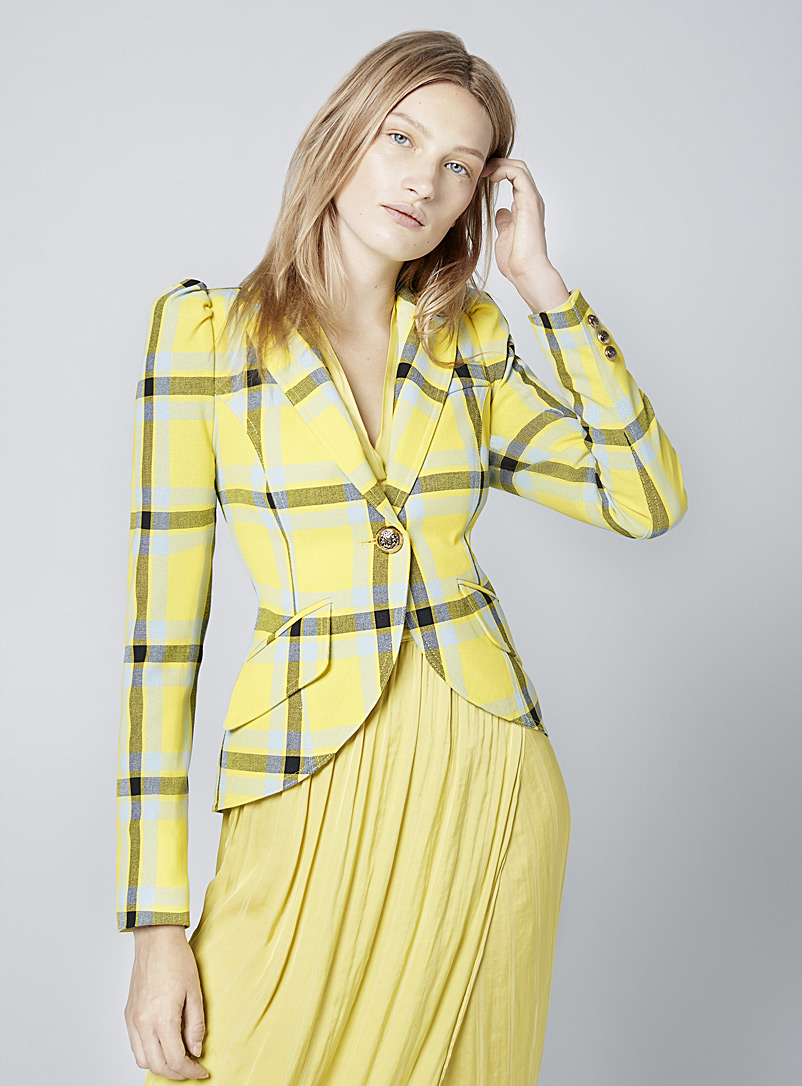 Smythe Patterned Yellow Retro check jacket for women
