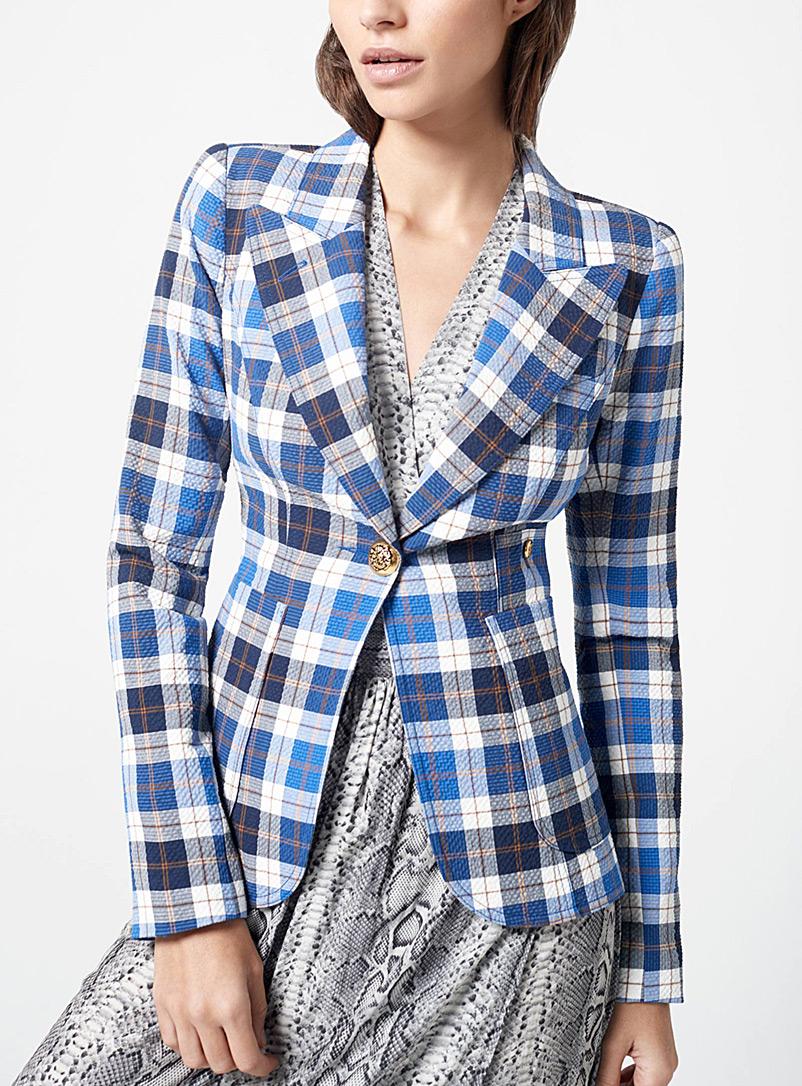 Smythe Patterned Blue Duchess patch pocket check blazer for women