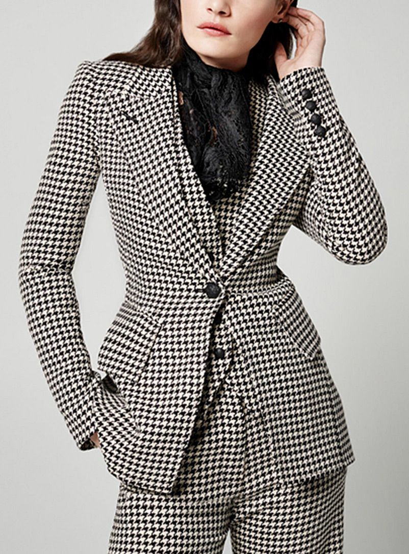 Smythe Black and White Lounge houndstooth blazer for women
