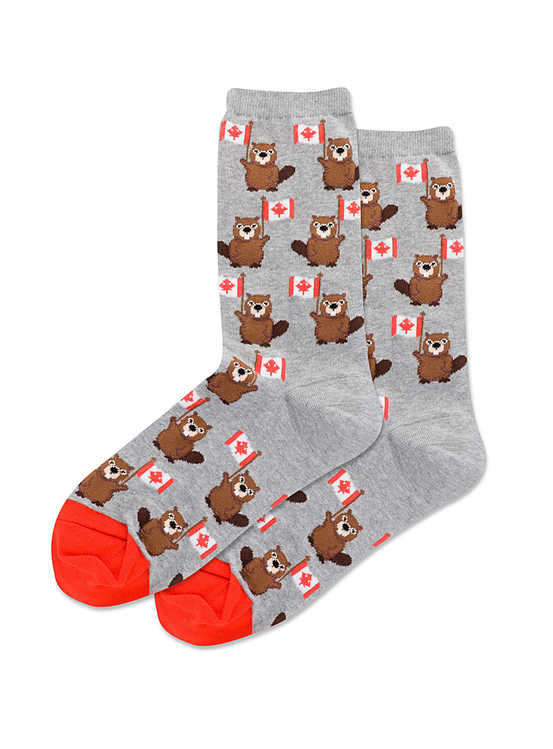 Hot Sox Grey Patriotic beaver socks for women
