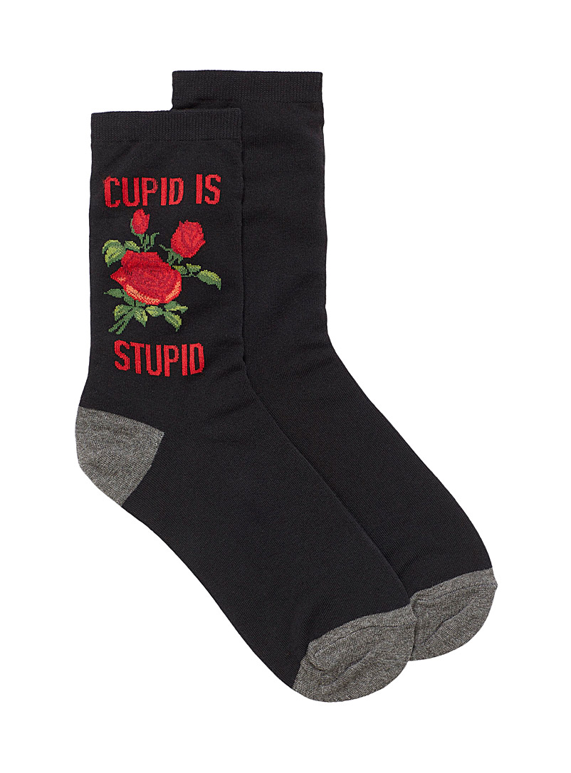 Hot Sox Assorted black  Satirical message ankle socks for women