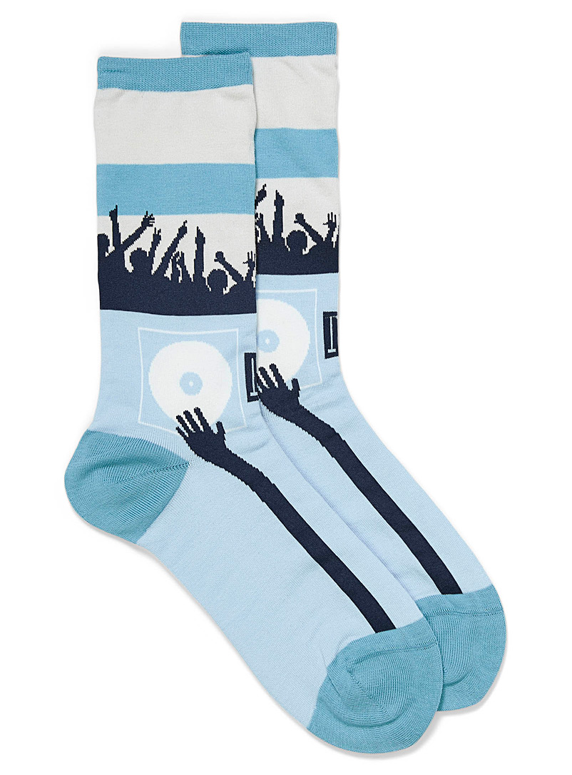 Hot Sox Teal DJ at the festival socks for women