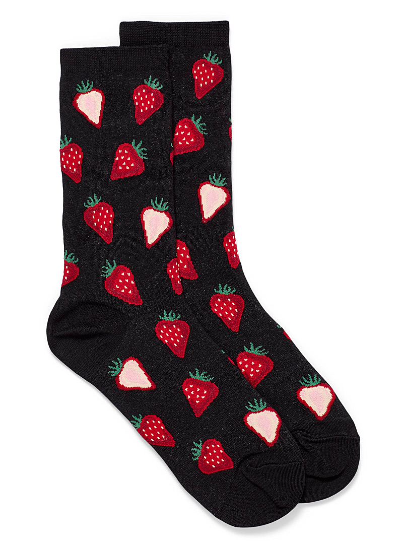Hot Sox Black Strawberry slice socks for women