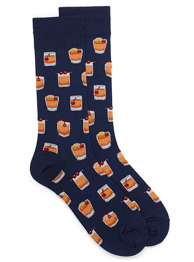 Hot Sox Patterned Blue Old Fashioned socks for men
