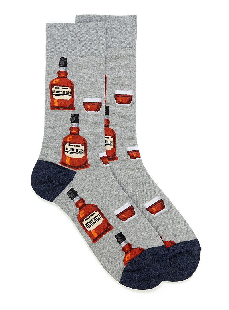 Bourbon socks - Casual socks - Patterned Grey