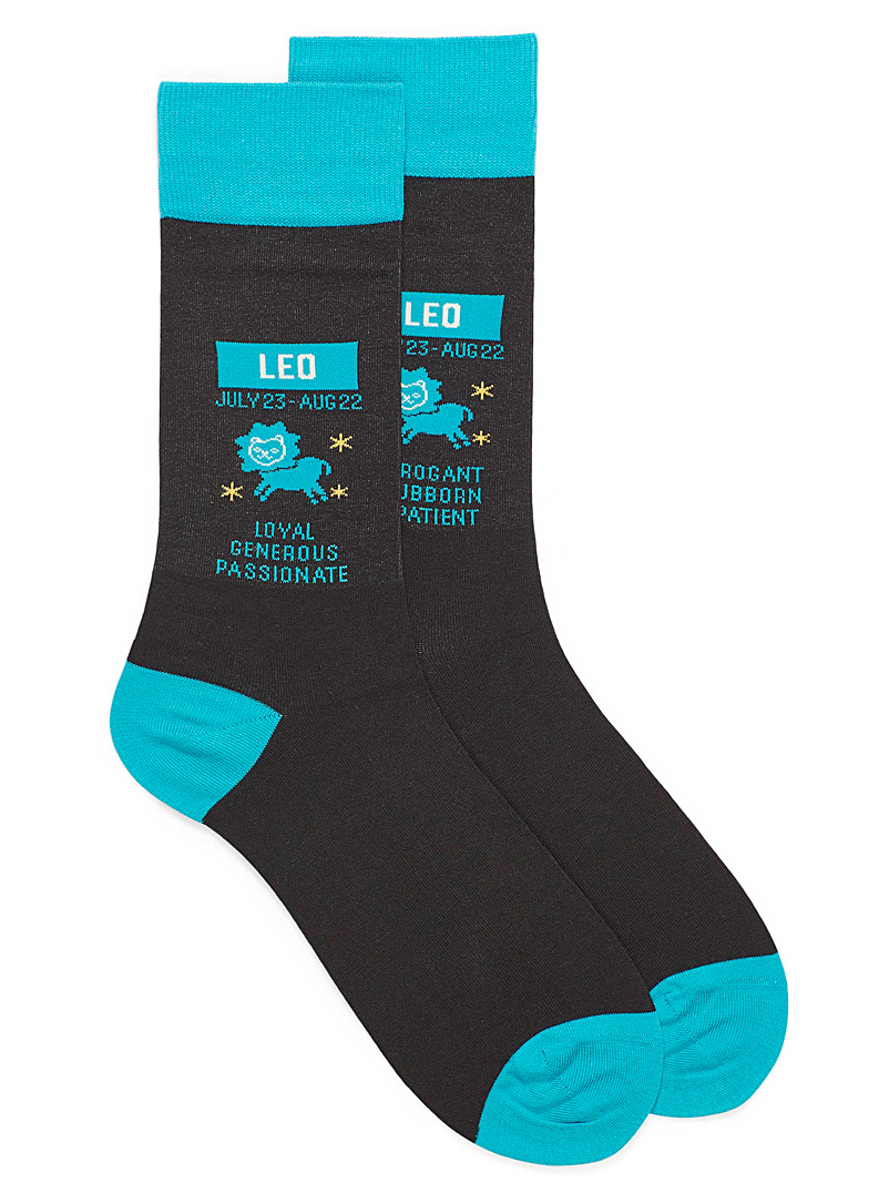 Hot Sox Patterned Black Leo zodiac socks for men