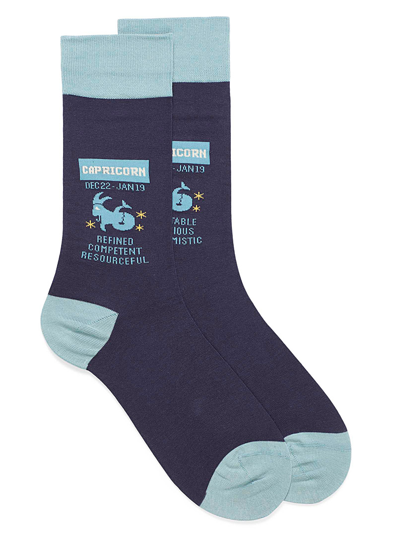 Hot Sox Patterned Blue Capricorn zodiac socks for men