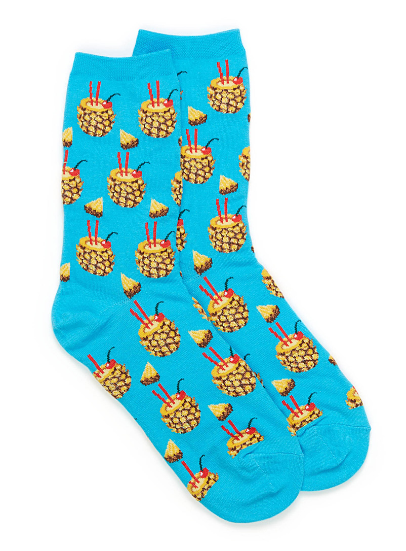 Pineapple cocktail ankle socks - Socks - Teal