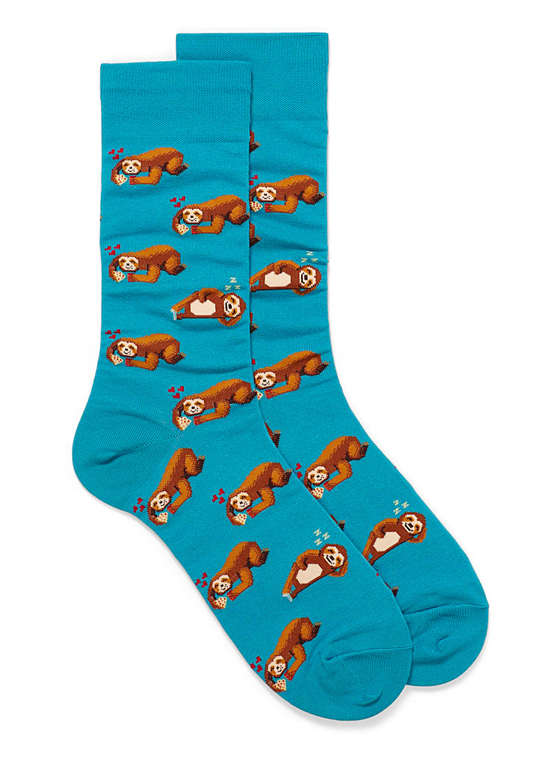 Hot Sox Patterned Blue Pizzaiolo sloth socks for men