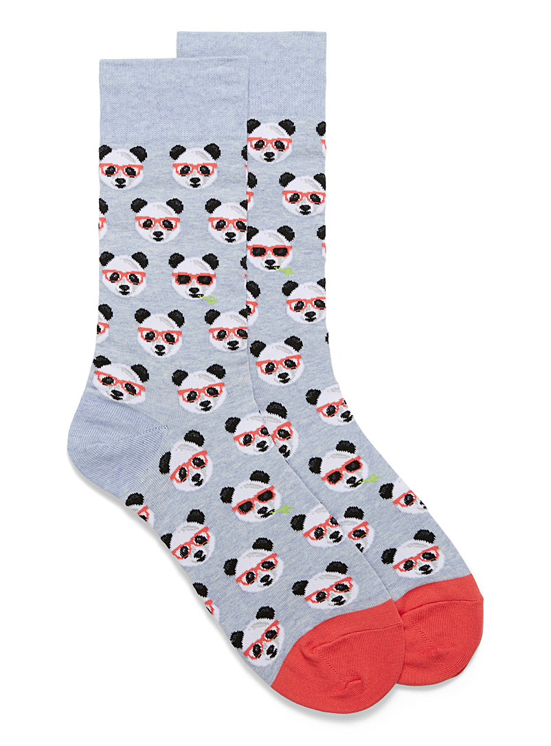 Hot Sox Sand Panda in glasses socks for men