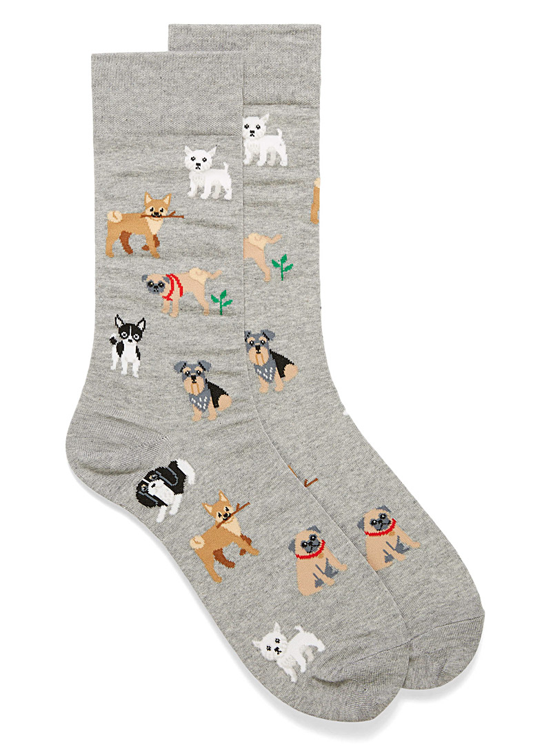 Hot Sox Patterned Grey Canine socks for men